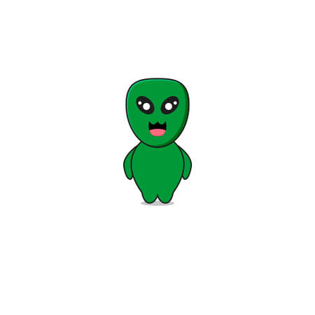Cute Green Alien Mascot Character.Illustration Isolated on white background.