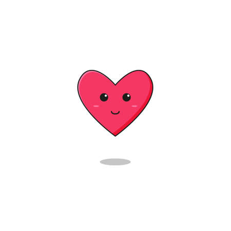 Cute Love Mascot Character.Illustration Isolated on white background.