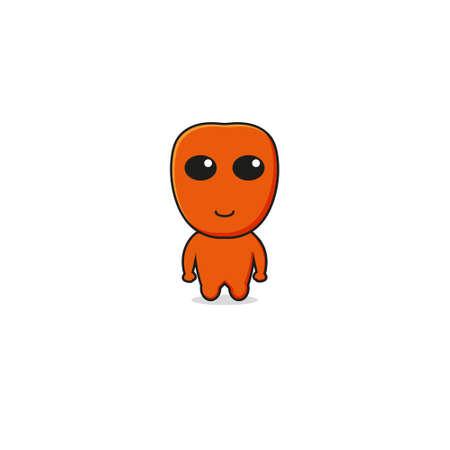 Cute Orange Alien Mascot Character.Illustration Isolated on white background.