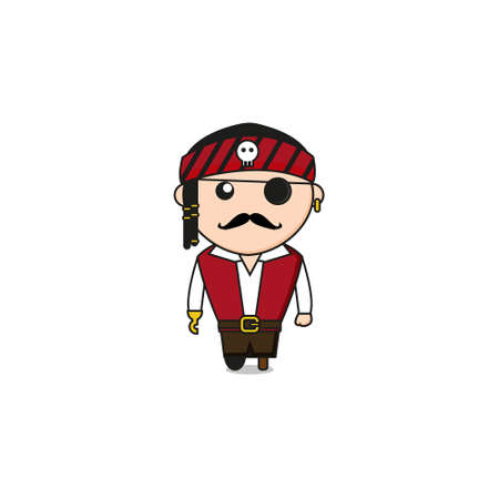 Cute Pirate Mascot Character.Illustration Isolated on white background.