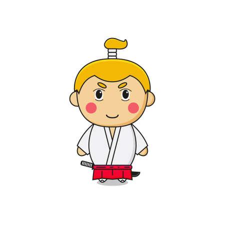 Cute Samurai Mascot Character.Illustration Isolated on white background.