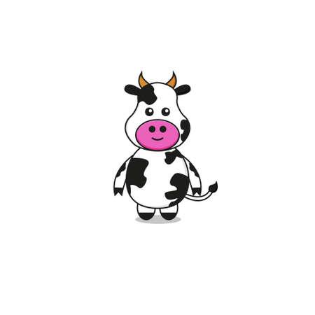 Cute Cow Mascot Character.Illustration Isolated on white background. Ilustração