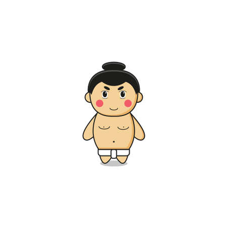 Cute Sumo Mascot Character.Illustration Isolated on white background.