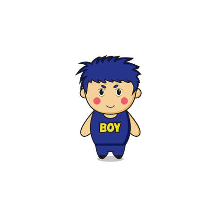 Cute Boy Mascot Character.Illustration Isolated on white background.
