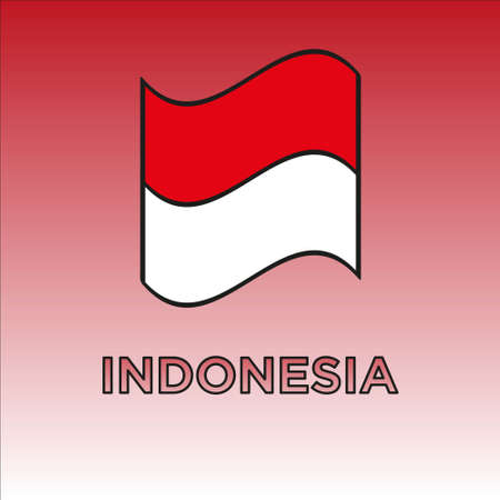 Indonesian Independence Day Banner Design. Isolated on gradient red white background.