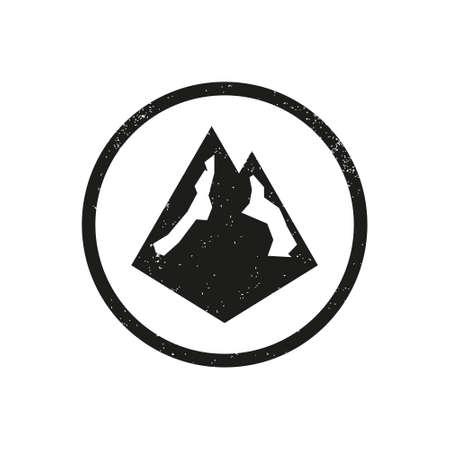 Grunge Texture Mountain Logo Design. Isolated on white background. Ilustração