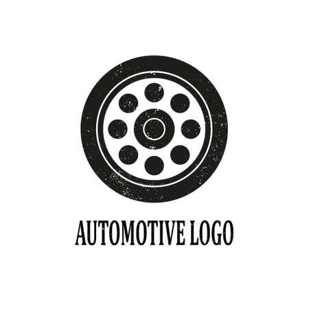 Grunge Texture Automotive Logo Design. Isolated on white background. Ilustração