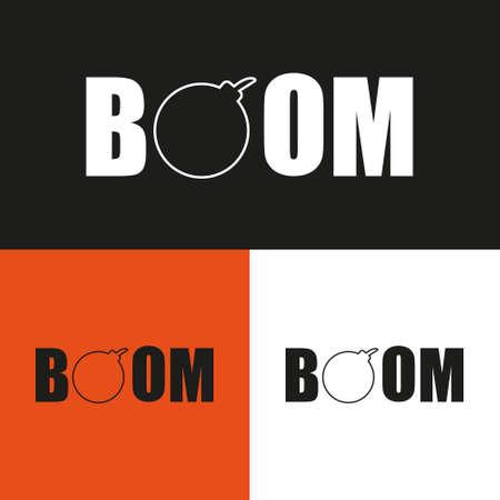 Boom logo design illustration set. Design isolated. Ilustração