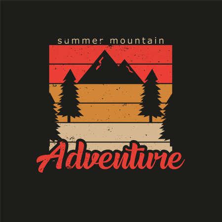 Illustration of summer mountain adventure. Isolated on black background. Ilustração