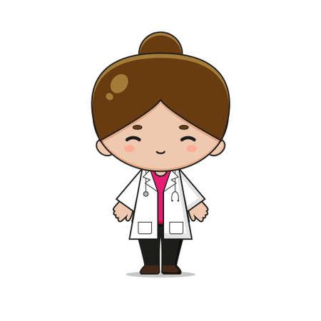 Cute Doctor Mascot Character Illustration. Design isolated on white background. Ilustração