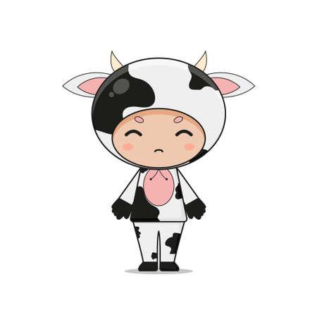 Cute Animal Cow Mascot Character Illustration. Isolated on white background. Ilustração