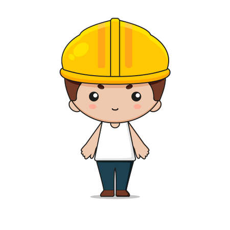Cute Labor Construction Mascot Character Illustration. Isolated on white background.