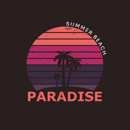 Illustration of summer beach paradise. Isolated on dark red black background.