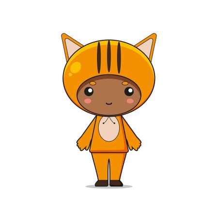 Cute Animal Cat Mascot Character Illustration. Isolated on white background. Ilustração