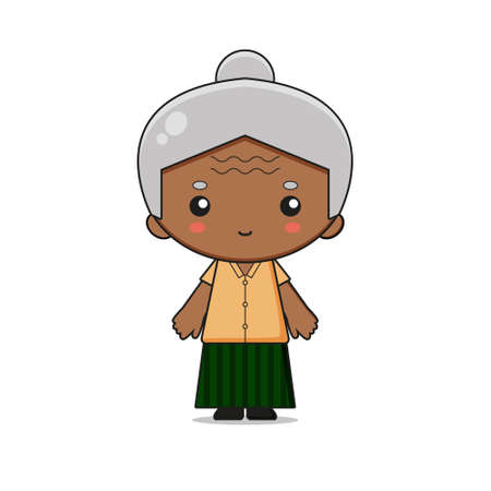 Cute Grandmother Mascot Character Illustration. Design isolated on white background.