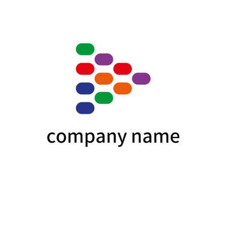 Company logo colorful design illustration. Isolated on white background. Ilustração