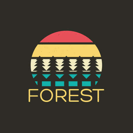 Illustration of summer forest adventure. Isolated on black background