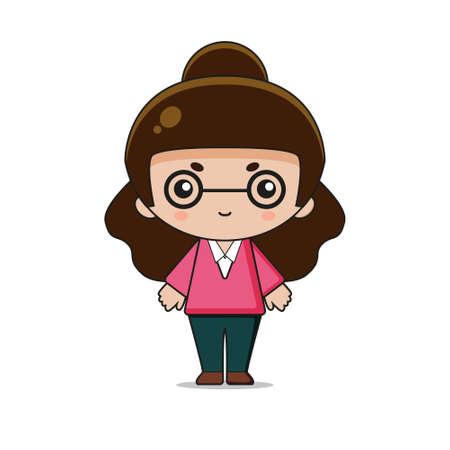 Cute Teacher Mascot Character Illustration. Design isolated on white background.