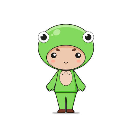 Cute Animal Frog Mascot Character Illustration. Isolated on white background.