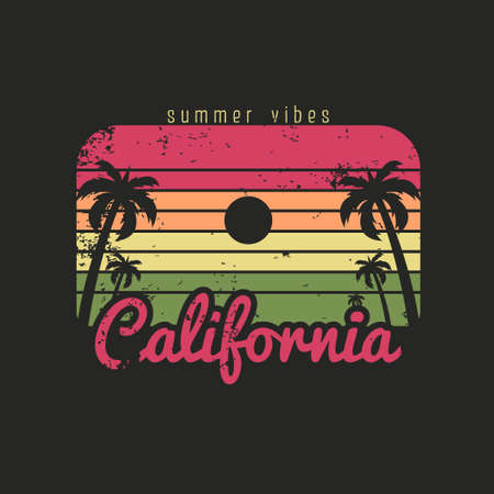 Illustration of california beach summer vibes. Isolated on black background.
