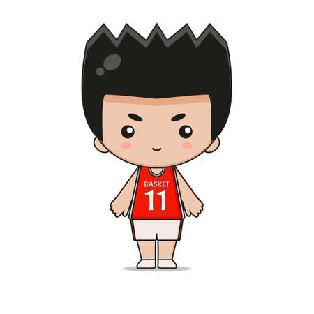 Cute Basketball Player Mascot Illustration. Isolated on white background.