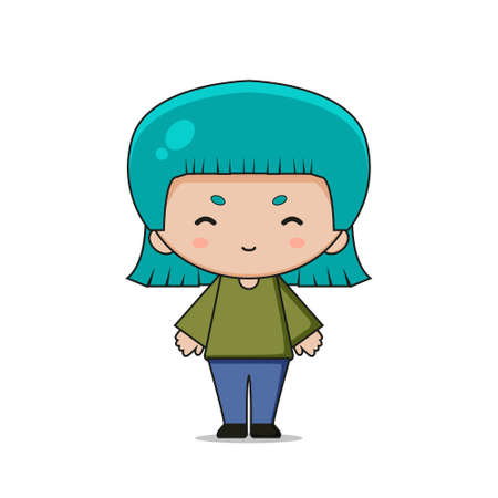 Cute Girl Mascot Character.Illustration Isolated on white background.