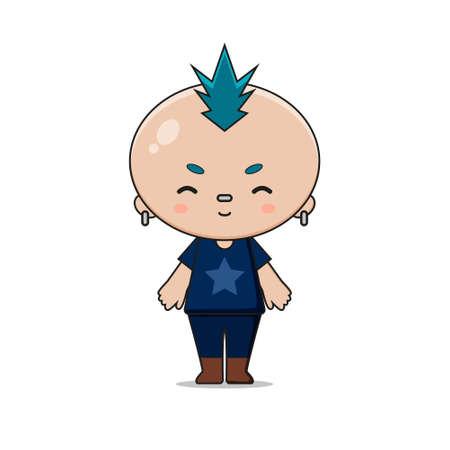 Cute Punk Boy Mascot Character Illustration. Design isolated on white background. Ilustração