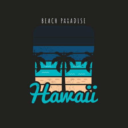 Illustration of hawaii beach paradise. Isolated on black background.