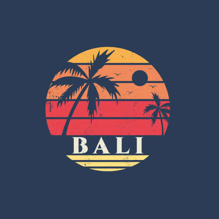 Illustration of bali beach summer vibes. Isolated on dark blue background.
