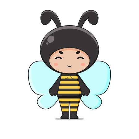 Cute Animal Bee Mascot Character Illustration. Isolated on white background. Ilustração