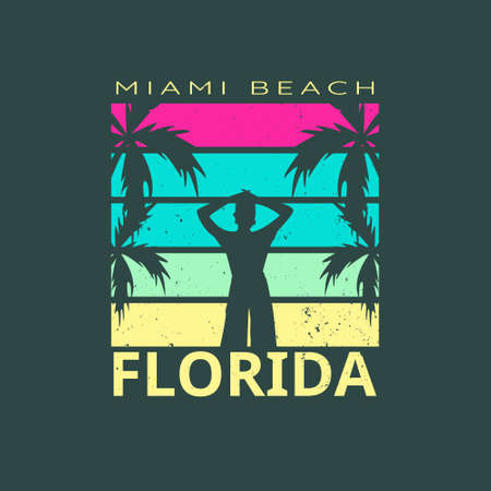 Illustration of miami beach paradise florida for surf. Isolated on dark green background.
