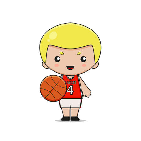 Cute Basketball Player Character with ball. Design isolated on white background. Ilustração