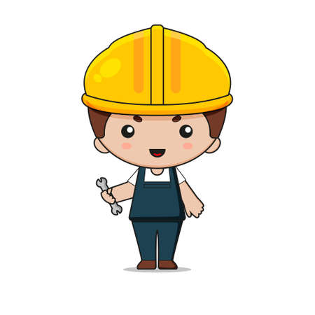 Cute Labor Construction Mascot Character with wrench. Isolated on white background. Ilustração