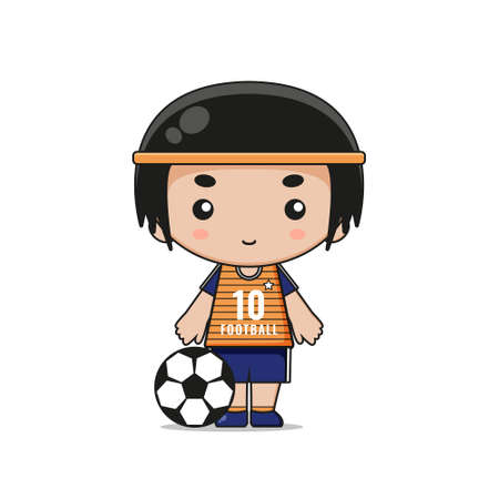 Cute Football Player Mascot Character. Design isolated on white background.