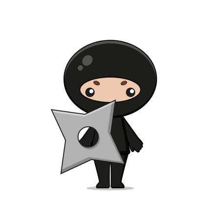 Cute Ninja Mascot Character with weapon. Isolated on white background.