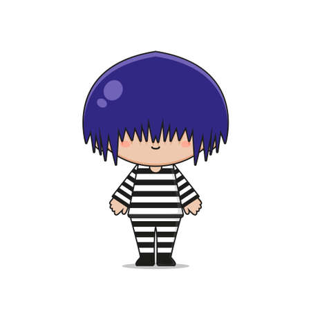 Cute prisoner mascot character design. Isolated on white background.