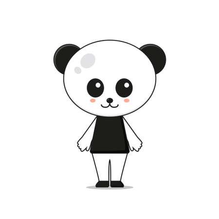 Cute Panda Mascot Character Illustration. Isolated on white background.