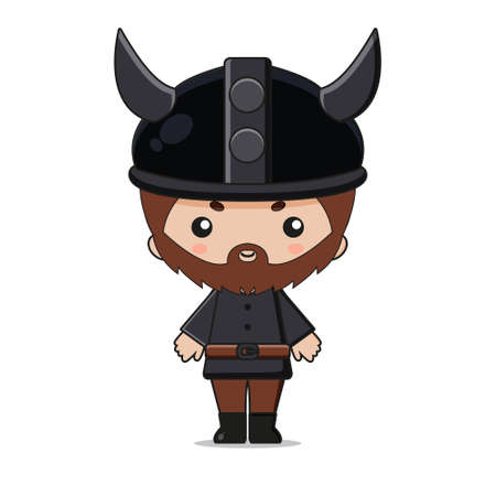 Cute Viking Mascot Character Design. Isolated on white background.