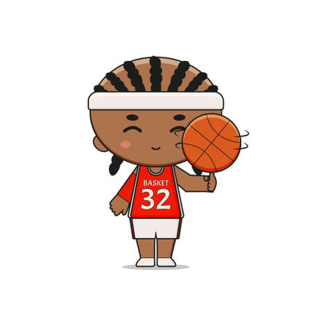 Cute Basketball Player Character with ball. Design isolated on white background. Design isolated on white background.