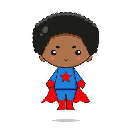 Cute superhero mascot character design. Isolated on white background. Ilustração