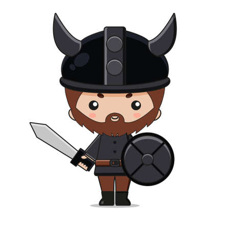 Cute Viking Mascot Character Design with sword and shield. Isolated on white background.