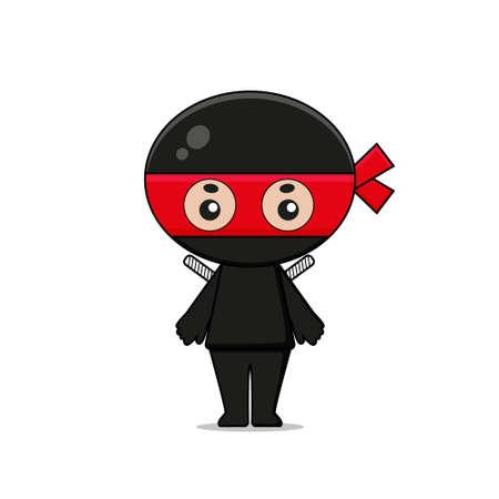 Cute Ninja Mascot Character with weapon