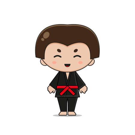 Cute Silat Mascot Character Design. Isolated on white background. Ilustração