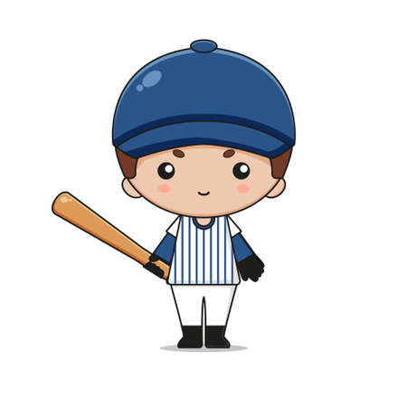Cute Baseball Mascot Character with bat. Isolated on white background.