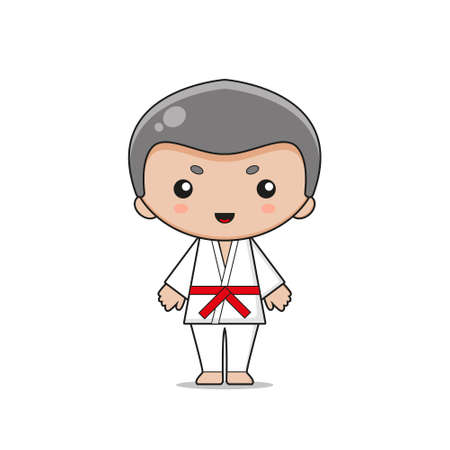 Cute Karate Mascot Character Design. Isolated on white background.