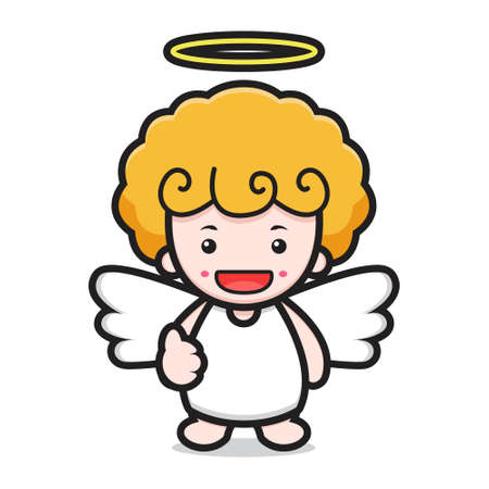 cute angel cartoon character with good pose Çizim