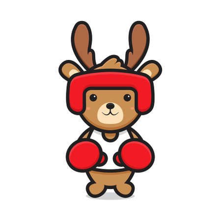 cute deer mascot character playing boxing. design isolated on white background