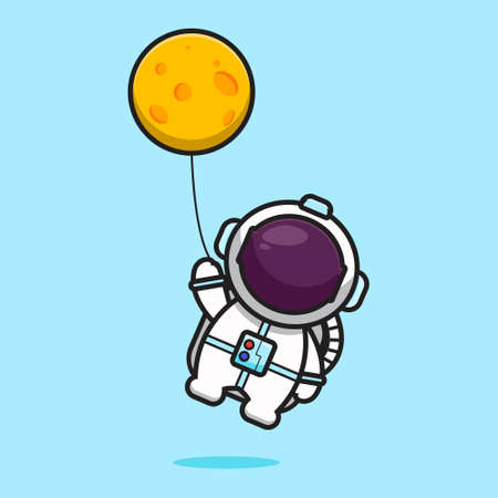 Cute astronaut character flying with moon balloon cartoon vector icon illustration. Science technology icon concept isolated vector. Flat cartoon style Vektoros illusztráció