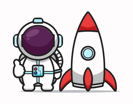 Cute astronaut character with good pose and rocket cartoon vector icon illustration. Science technology icon concept isolated vector. Flat cartoon style