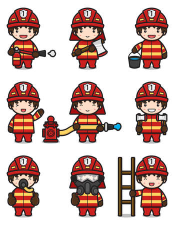 Cute fire fighter set with different activity cartoon vector icon illustration. Fireman profession icon concept isolated vector. Flat cartoon style